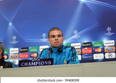 MADRID, SPAIN  APRIL 3: Pepe press conference, pregame Champions League, Apoel return leg. On April 3, 2012 in Valdebebas.