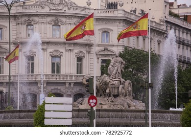 Madrid, Spain - April 30, 2017: Fuente de cibeles, where the titles are Real Madrid