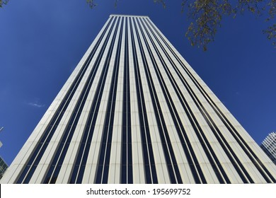 MADRID, SPAIN - APRIL 6, 2014: Torre Picasso is a  Minoru Yamasaki designed building, completed in 1988. At 515 ft (157 m) and with 43 floors it was Spain's tallest building until 2001.