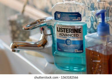 MADRID, SPAIN - APRIL 8, 2019: LISTERINE bottle in a bathroom illustrative editorial