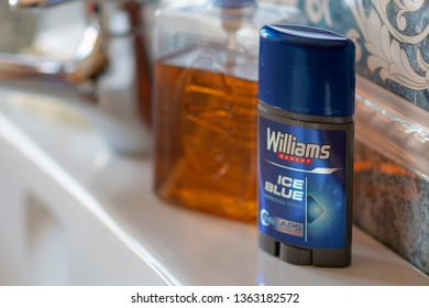 MADRID, SPAIN - APRIL 8, 2019: Williams deodorant in a bathroom.  illustrative editorial