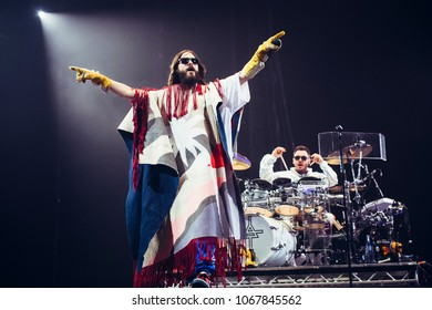 MADRID, SPAIN - ARPIL 12: Oscar winner and Golden Globe winner Jared Leto and his band 30 Seconds to Mars, performing live on Madrid on April 12, 2018 at Wizink Center