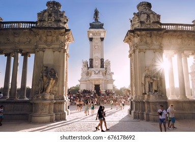 Madrid, Spain. Aug 23, 2016. Tourist crowd visiting King Alfonso XII monument at El Retiro Park, Madrid. One of the most visited monuments from this iconic Park in the capital city of Spain.