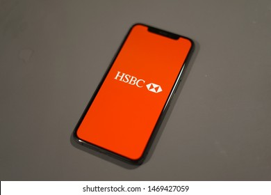 Madrid, Spain - August 03, 2019; HSBC Iphone XS Application on a Grey Table Background