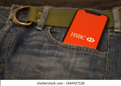 Madrid, Spain - August 03, 2019; HSBC Mobile Banking Iphone XS Application on a Denim Pocket