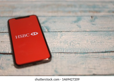Madrid, Spain - August 03, 2019; HSBC Mobile Banking Iphone XS Application on Pallet Floor Background