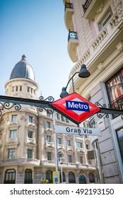 MADRID, SPAIN - AUGUST 1, 2016: Gran Via Street in Madrid, Spain. Madrid is the capital and largest city of Spain.