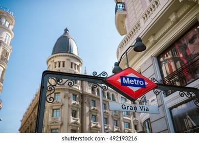 MADRID, SPAIN - AUGUST 1, 2016: Metro sign in Gran Via Street in Madrid, Spain. Madrid is the capital and largest city of Spain.