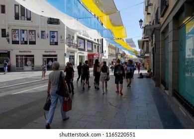 Madrid, Spain. August 12, 2018. Preciados Street in summer. City center. Puerta del Sol.