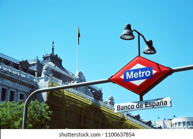 Madrid, Spain - August 13, 2017. sign of the metro station Bank of Spain. Banco de Espana