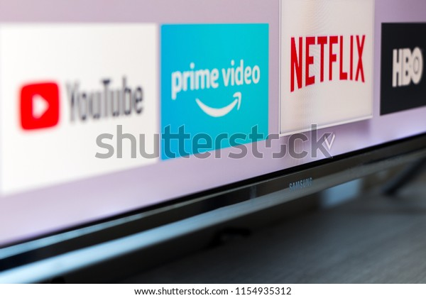 MADRID, SPAIN - AUGUST 13, 2018. Samsung smart TV with video streaming apps: YouTube, Amazon Prime Video, Netflix and HBO