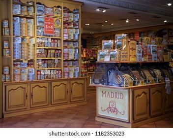 Madrid, Spain - August 23, 2018. Visiting the La Cure Gourmande candies and biscuits shop  specialises in traditional French confectioneries