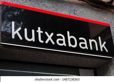 MADRID, SPAIN - AUGUST 24, 2019. Kutxabank logo on Kutxabank bank office. Kutxabank is a bank based in the Basque Autonomous Community of Spain