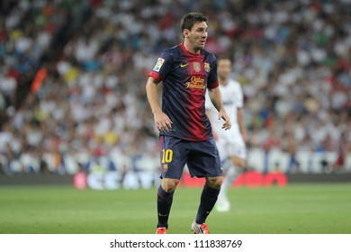 MADRID, SPAIN - AUGUST 29: Leo Messi during the Supercopa, Real Madrid vs FC Barcelona, on August 29, 2012 at the Santiago Bernabeu Stadium.