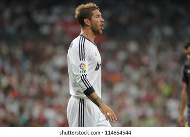 MADRID, SPAIN - AUGUST 29: Sergio Ramos during the Supercopa, Real Madrid vs FC Barcelona, on August 29, 2012 at the Santiago Bernabeu Stadium.