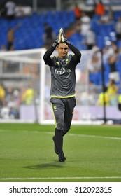 MADRID, SPAIN - August 29th, 2015 : Goalkeeper KEYLOR NAVAS of REAL MADRID during the La Liga match vs BETIS at Santiago Bernabeu Stadium