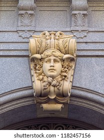 MADRID, SPAIN - AUGUST 31, 2018: Sculptural decor of historic building of Bank of Spain in Madrid, built in 19th century in city center area.