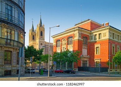 MADRID, SPAIN - AUGUST 31, 2018: Historic buildings of St. Jerome the Royal church and Royal Spanish Academy in central Madrid.