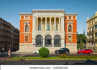 MADRID, SPAIN - AUGUST 31, 2018: Facade of Cason del Buen Retiro building, which is part of Museo del Prado complex in Madrid. It houses the Museum's study center and library.