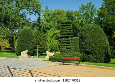 MADRID, SPAIN - AUGUST 31, 2018: Landscape in Herrero de Palacios Garden which is part of Buen Retiro Park complex of Madrid.