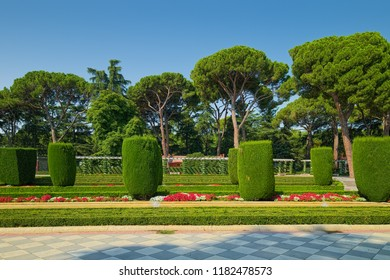 MADRID, SPAIN - AUGUST 31, 2018: Landscape in Cecilio Rodriguez Garden which is part of Buen Retiro Park complex of Madrid. The garden was finished in 1941 and in 1972 was re-opened to public.