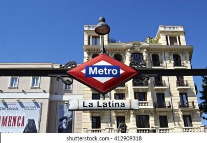 Madrid, Spain - August 4th 2014: La Latina metro stop, Madrid