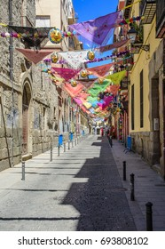 MADRID, SPAIN. AUGUST 6, 2017. Street adorned to celebrate the St. Cayetano holidays. Banner welcoming the holidays.