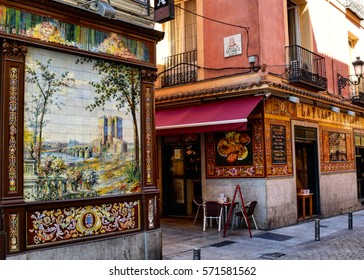 MADRID, SPAIN: CIRCA JULY 2015: Decorative tiles adorn the sides of buildings and restaurants in central Madrid