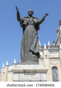 "MADRID, SPAIN - CIRCA JUNE 2015: statue of pope John Paul II with his Latin motto Totus Tuus (translated "" Totally thine "")"