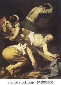 MADRID, SPAIN - CIRCA MAY 2013: Martyrdom of Saint Peter, work of Caravaggio (1571 - 1610) in 1601. Original in Santa Maria del Popolo church, In Rome. Taken circa May, 2013 in Madrid, Spain.