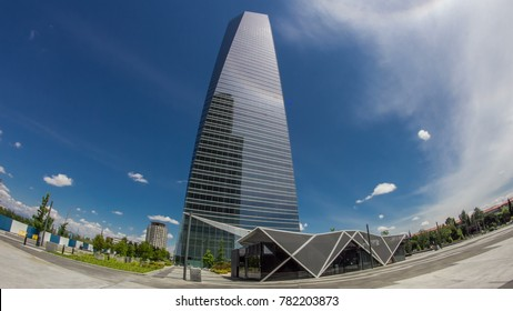 MADRID, SPAIN - CIRCA MAY 2016: skyscrapers timelapse hyperlapse in the Four Towers Business Area with the tallest skyscrapers in Madrid and Spain -Torre Espacio, Torre de Cristal, Torre PwC and Torre