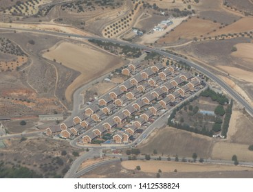 MADRID, SPAIN - CIRCA OCTOBER 2017: aerial view of a residential area near Madrid-Barajas Adolfo Suarez Airport
