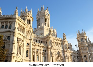 Madrid, Spain. The City Hall in Cibeles square. Sunset light.