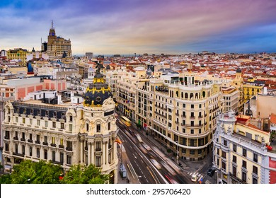 Madrid, Spain cityscape above Gran Via shopping street.