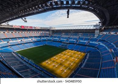MADRID, SPAIN - DEC 26 2016: The view of the Santiago Bernabeu, stadium of Real Madrid.
