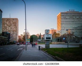 Madrid / Spain - December 12, 2018: A photo of the beautiful park at the Joan Miro square in front of the Palacio De Congresos, a large convention center in Madrid, the capital of Spain, in Europe.
