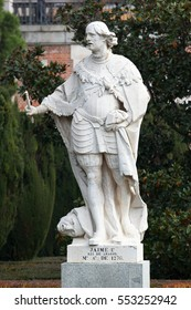 MADRID, SPAIN - DECEMBER 13, 2016: Sculpture of James I the Conqueror, King of Aragon, near the Royal Palace of Madrid. His reign was the longest of any Iberian monarchs -  from 1213 to 1276.