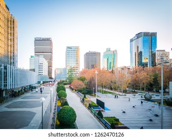 Madrid / Spain - December 14 2018: A photo of the popular Picasso square where are located the Picasso tower and other office buildings in Azca business district in downtown Madrid on Christmas.