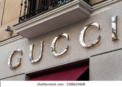 Madrid, SPAIN - DECEMBER 14, 2019. Gucci logo on Gucci's shop. Gucci is an international italian clothing company