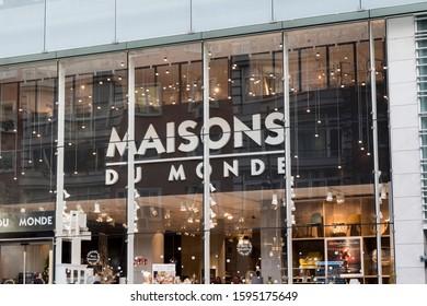 Madrid, SPAIN - DECEMBER 14, 2019. Maisons du Monde logo on Maisons du Monde store. Maisons du Monde is a French furniture and home decor company