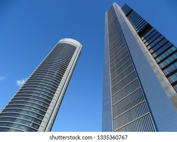 Madrid, Spain - December 18, 2016: Modern skyscrapers in the Cuatro Torres Business Area. Crystal, Space, Pwc and CEPSA Towers are the tallest buldings in the country.