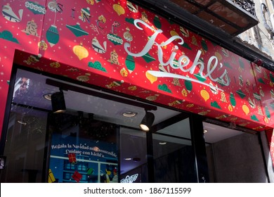 MADRID, SPAIN - DECEMBER 2, 2020. Kiehl's logo on Kiehl's shop. Kiehl's is an american cosmetics company