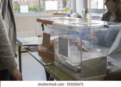 Madrid, Spain - December 20, 2015 - Electoral urns at electoral college at Spanish general election day in Madrid, Spain