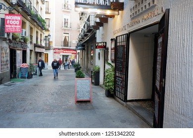 Madrid, Spain; December 2018: Barrio de las Letras: this neighborhood has become a trendy spot; keep an eye out for boutiques, art galleries, bookstores and antique shops that make it so authentic.