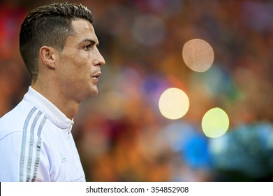MADRID, SPAIN - December 20th, 2015 : Portrait of Portuguese CRISTIANO RONALDO of Real Madrid during La Liga match at Santiago Bernabeu Stadium