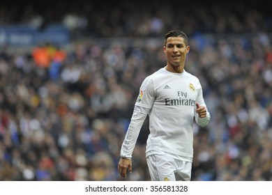 MADRID, SPAIN - December 30st, 2015 :  Portuguese CRISTIANO RONALDO of REAL MADRID in action during Spain La Liga match vs Real Sociedad at Santiago Bernabeu Stadium