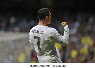 MADRID, SPAIN - December 30st, 2015 :  Portuguese CRISTIANO RONALDO of REAL MADRID celebrates scoring goal during Spain La Liga match vs Real Sociedad at Santiago Bernabeu Stadium