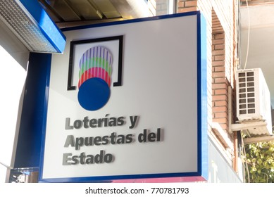 MADRID, SPAIN - DECEMBER 5, 2017: Loteria nacional. Official logo in an spanish national lottery outlet. Loterias y apuestas del estado. Spanish national lottery distributes many cash prizes