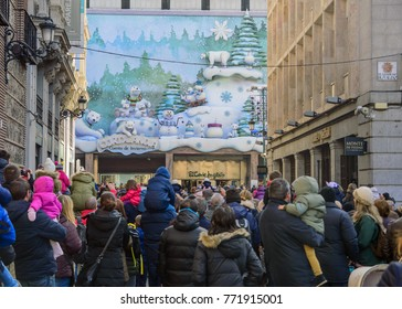 Madrid, Spain. December 7, 2017. People watching a Christmas show offered by a shopping center in Madrid.