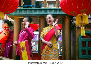 Madrid, Spain - February 10, 2019: Chariot in the Chinese New Year parade, year of the pig.